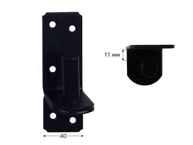 Панта носач за метално рамо за дървени порти и капаци ZP - 11 мм, ф16 мм, Черен