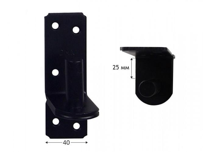 Панта носач за метално рамо за дървени порти и капаци ZP - 25 мм, ф16 мм, Черен