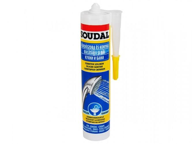 Санитарен силикон за кухни, бани и влажни помещения Soudal - 300 мл, Прозрачен