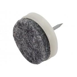 Пластмасова мебелна стъпка с пирон и кече KAMA - ф28 мм, Бял