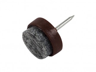 Пластмасова мебелна стъпка с пирон и кече KAMA - ф17 мм, Кафяв