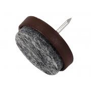 Пластмасова мебелна стъпка с пирон и кече KAMA - ф28 мм, Кафяв