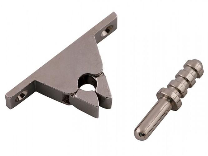 Метален стопер със заключване за интериорни врати - хром