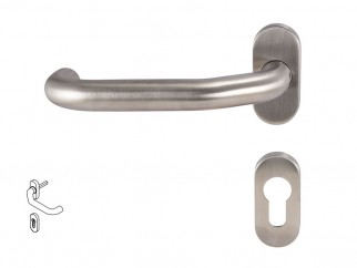 Dormakaba Pure 8100V Handle For Narrow Stile Doors - For Cylinder, Inox, Left