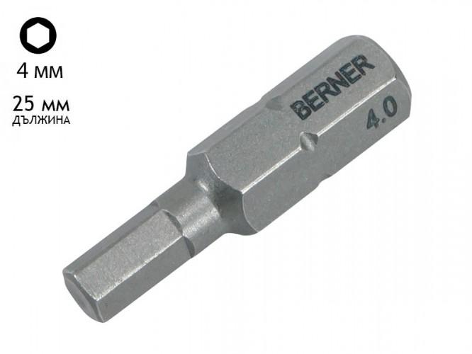 Бит накрайник шестостен за винтоверт Berner SW - 4 мм