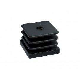 Тапа за квадратна тръба или профил - 40 х 40 мм, С метрична резба M10, Черен