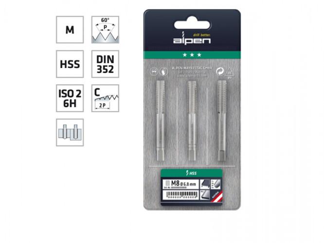 Ръчни метчици за метрична резба Alpen HSS - Комплект от 3 части