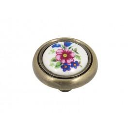 Ретро дръжка за мебели 3350 - Синьо цвете, С един винт