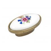 Ретро дръжка за мебели KAMA 0042 - 16 мм, Злато с керамика