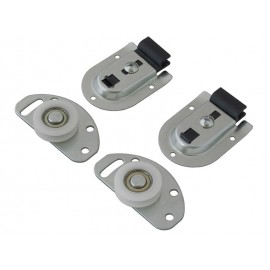 Set of rollers and guides for sliding doors with lower carrying and upper guide