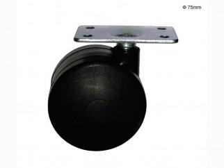 Усилено мебелно колелце с планка - Ф75 мм