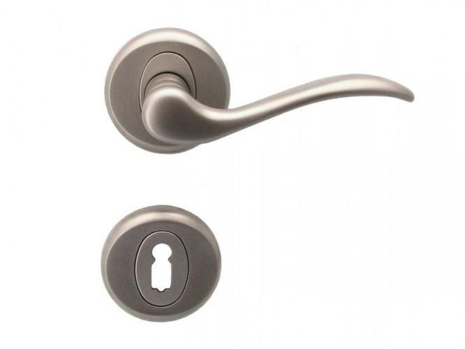 Дръжка за врати Барон - за обикновен ключ, никел мат