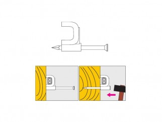 Пластмасова скоба с пирон за плосък кабел Wkret-met KZP