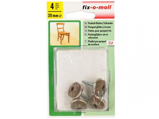 Вълнени плъзгачи с винт за крака на мебели Fix-o-moll - 4 броя
