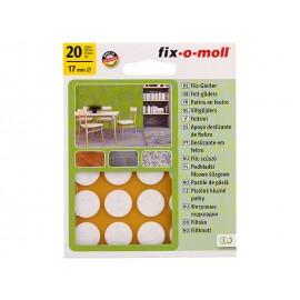 Самозалепващи плъзгачи за крака на мебели Fix-o-moll - ф17 мм, 20 бр., Бял
