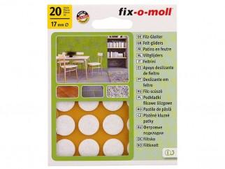 Самозалепващи плъзгачи за крака на мебели Fix-o-moll - 17 мм, 20 бр., Бели