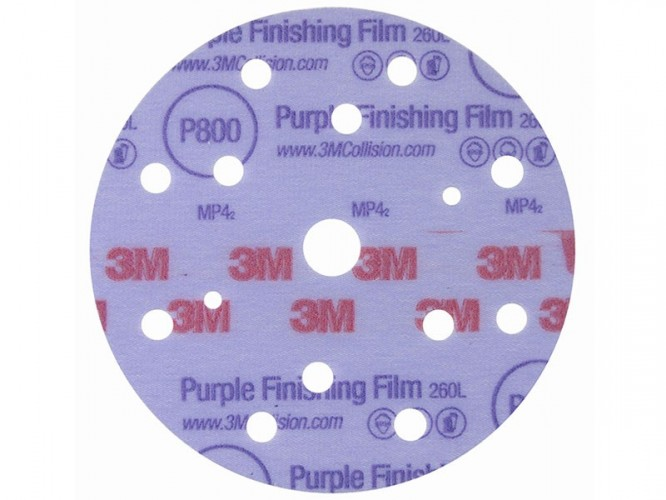 Абразивни велкро дискове с филмова основа 3M 260L Hookit, P800 - P1500 - лице