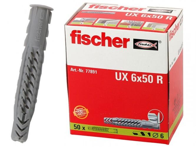 Универсални дюбели с широка периферия Fischer UX R - 6 x 50 мм, 50 бр.