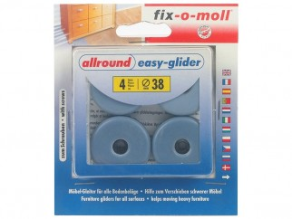 Fix-o-moll Allround Easy-Glider With Screw - Blue, 38 mm