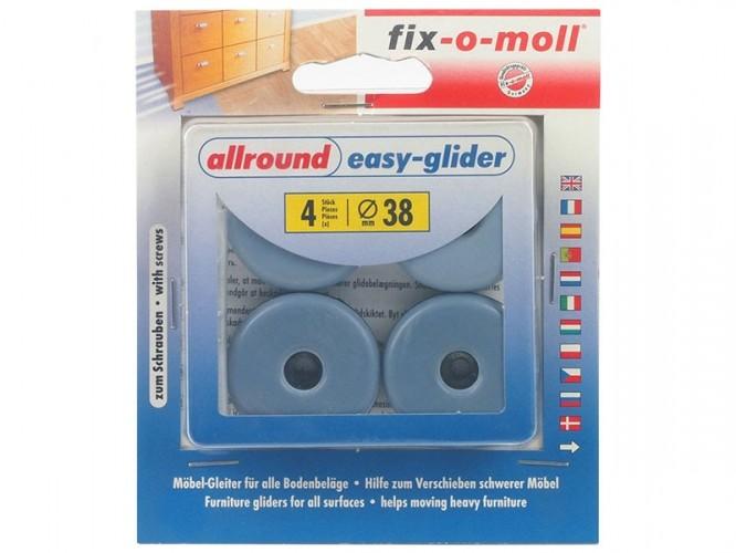 Плъзгачи с тефлоново покритие и винт за крака на мебели Fix-o-moll - Сини, ф38 мм