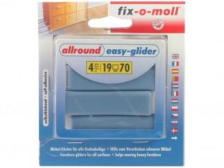 Самозалепващи плъзгачи с тефлоново покритие за крака на мебели Fix-o-moll - 70 x 19 мм