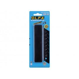Резервни резци за макетни ножове OLFA Excel Black HBB - 25 мм, 5 бр.