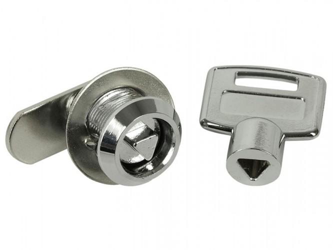 Ключалка за мебели с въртящ език и триъгълен ключ KM-483