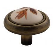 Ретро дръжка за мебели 3350 - Кафяво цвете, С един винт