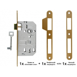 Основна брава за интериорни врати FAB 70 x 50 мм - Обикновен ключ, Бронз