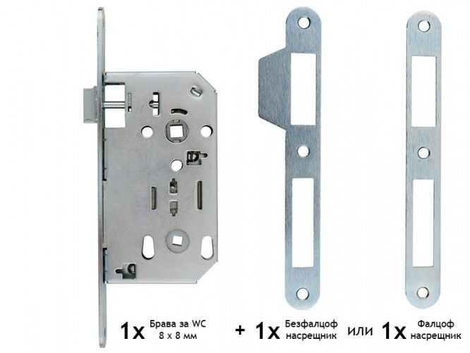 Основна брава за интериорни врати FAB 70 x 50 мм - WC 8 x 8 мм, Хром мат
