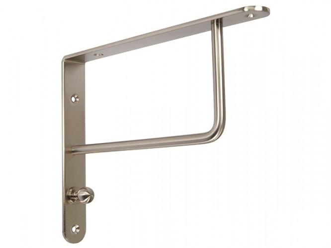 Ъглова конзола със закачалка за дървени рафтове - 195 x 250 мм, Инокс