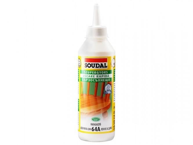 Бързосъхнещо лепило за дърво Soudal 64A D2 - 250 гр