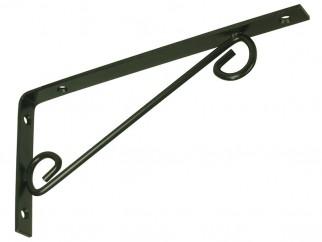 Декоративна ъглова конзола за дървени рафтове WOP - 250 x 125 мм, Черен