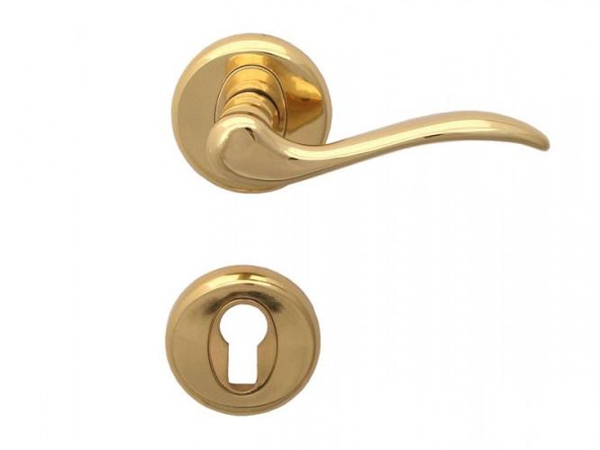 Baron Door Handle   For Cylinder, Gold