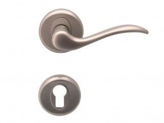 Baron Door Handle - For Cylinder, Matte Nickel