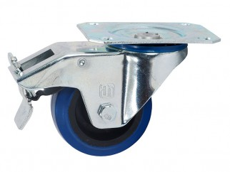 372091 Ball-bearing Swivel Castor With Plate And Brake - 80 mm