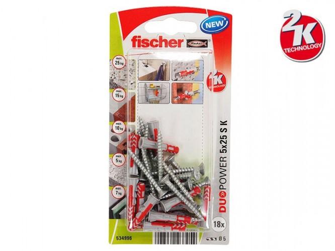 Комплект универсални дюбели с винт Fischer DUOPOWER S K - 5 x 25 мм