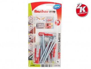 Fischer DUOPOWER S K Universal Plugs With Screw - 8 x 40 mm