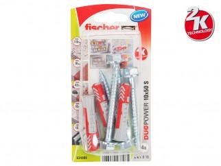 Fischer DUOPOWER S K Universal Plugs With Screw - 10 x 50 mm