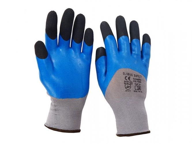 Чифт защитни работни ръкавици топени в двоен нитрил Chimera Lux