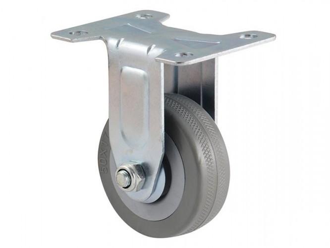 Колело за мебели с гумирана ролка и планка BQ07-F - Без спирачка