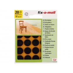 Самозалепващи плъзгачи за крака на мебели Fix-o-moll - 17 мм, 20 бр., Кафяви