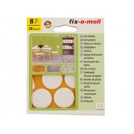 Самозалепващи плъзгачи за крака на мебели Fix-o-moll - ф28 мм, 8 бр., Бял