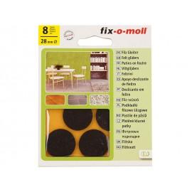 Самозалепващи плъзгачи за крака на мебели Fix-o-moll - ф28 мм, 8 бр., Кафяв