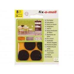 Самозалепващи плъзгачи за крака на мебели Fix-o-moll - 28 мм, 8 бр., Кафяви