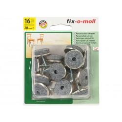 Вълнени плъзгачи с винт за крака на мебели Fix-o-moll - 28 мм, 16 бр. опаковка