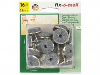 Fix-o-moll Parquet-gliders With Screw - 28 mm, 16 pc.