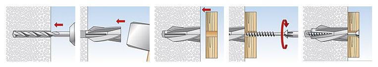 Пластмасови дюбели за газобетон Fischer - Монтаж
