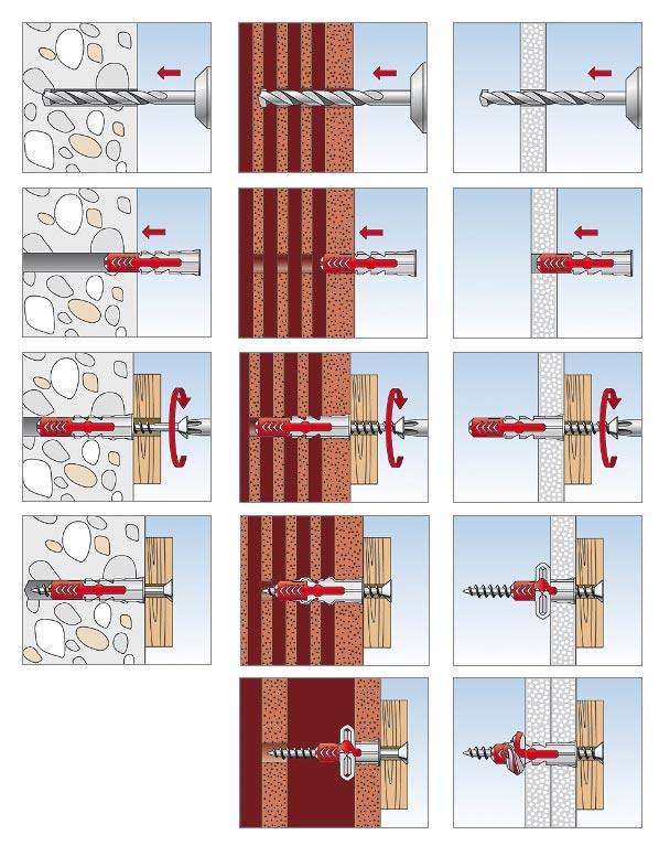 Fischer DUOPOWER Universal Plugs - mouonting in materials