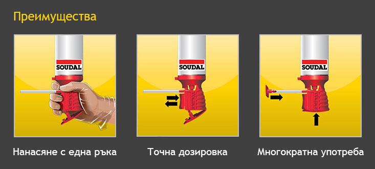 Ръчна монтажна полиуретанова пяна с апликатор Soudal Genius Gun - Преимущества